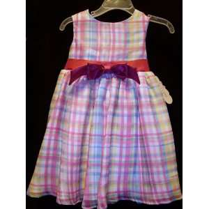 Collection Baby Plaid Dress with Pink Bow Ball Gown Sundress 18 Months