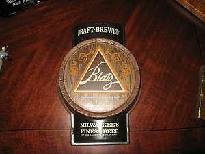 Vintage Blatz Beer Embosograph Sign Plastic Original Excellent 11 1/2