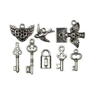 Cousin Jewelry Basics 8 Piece Metal Charm Key/Bird Arts