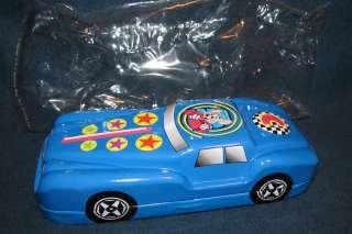 RARE Chuck E Cheese Metal Tin Pencil Trinket Case Box Blue Race Car W