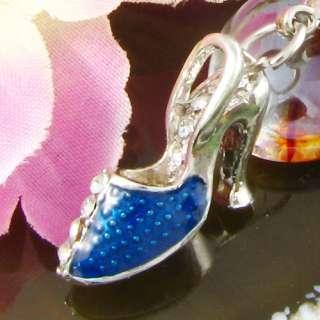 Crystal Blue High Heel Shoe Charms Pendant Chain 972