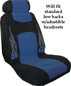 FLAME RACING CAR SEAT COVER BLUE 9 PCE SPORT PKG PU