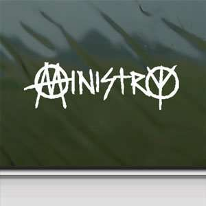 Ministry Industrial White Sticker Metal Rock Band Laptop