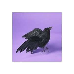Pack of 12 Feathered Flying Black Crow Halloween Table Top Figures 8