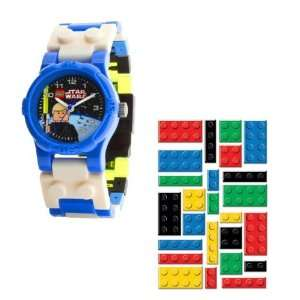 Watch with Luke Skywalker Toy and Lego Brick Sticers  Toys & Games