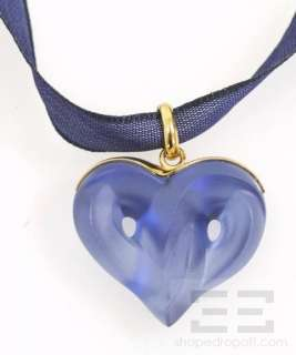 Lalique Blue Crystal Heart Pendant Necklace