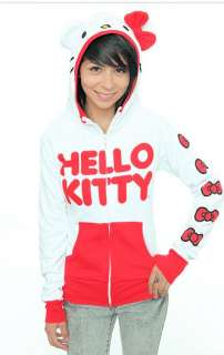 KITTY~ CLASSIC RED & WHITE I AM RED BOWS DOWN THE ARM HOODIE