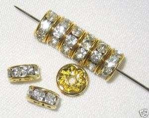 100 Swarovski Rhinestone Rondelles 5mm Gold Crystal (F)