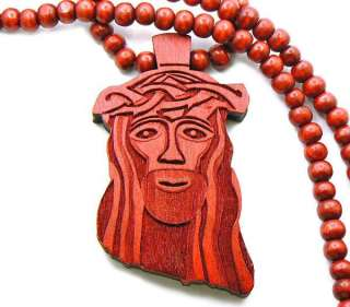 RED WOOD JESUS PIECE CHAIN CHRIST GOD PENDANT WOODEN BEAD NECKLACE
