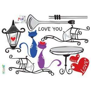 Sweet love cats   Reusable Easy Instant Decoration Wall Sticker Decal