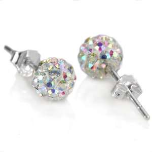 Crystal AB Swarovski Crystal 10mm Size Disco Ball Studs Earrings (101