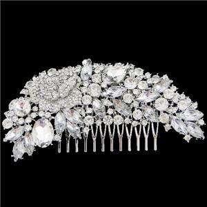 Bridal Rose Hair Comb Tiara Crown w/ Swarovski Crystal
