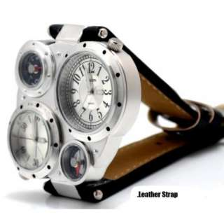 New Cool Men Women Dual Time Zone Homme Montre Military Comping Watch