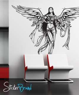 Vinyl Wall Decal Sticker Angel Wings Sketch Drawing Big