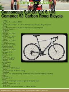 Cannondale Super Six 5 105 Compact 52 Carbon Road Bike Bicycle