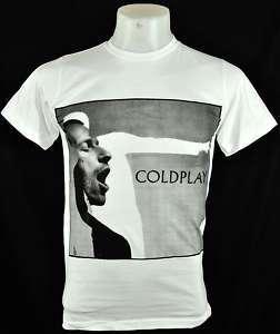 SQ Coldplay White Tee T Shirt Britpop punk Rock Size S
