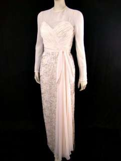 VTG 70s 50s VICTORIA ROYAL Ruched Chiffon Over Lame & Bead Lace Party