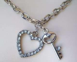 Russ Berrie Diamante Heart Silver Tone Charm Bracelet