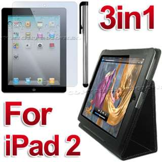 LEATHER CASE+SCREEN COVER+STYLUS FOR IPAD 2 16/32/64 GB