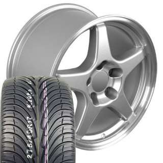 Set of 4 ZR1 Style Replica Wheels & Tires   Silver 17x9.5