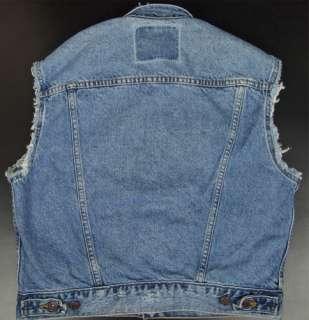 Vtg Levis Men S Jean Vest Blue Denim Jacket Sleeveless Punk Hipster