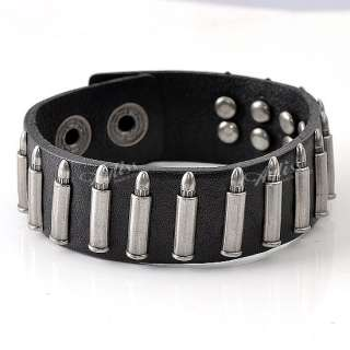 Black Leather Bullet Mens Fashion Bracelet Belt Cuff Jewelry