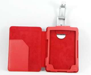 Kindle 4 4th Red Pu Leather Wallet Case Cover +Slim Reading Light New