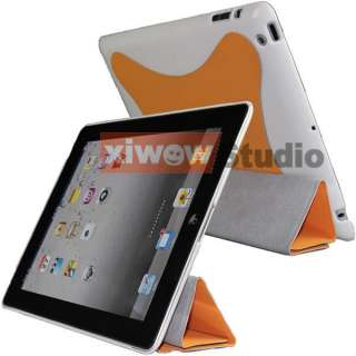 Orange iPad 2 Slim Magnetic Smart Cover with Hard Case 2 Tone