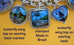 Vintage Mexico Sterling Charm Bracelet Butterfly Wing Charms English