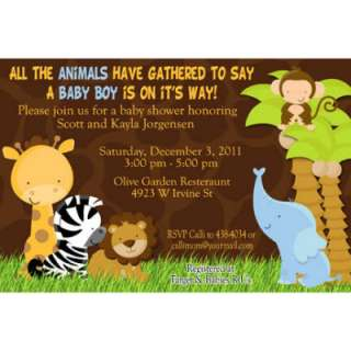 Jungle Safari Baby Shower Invitations Candy Bar and Water Bottle