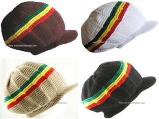 Mens Winter Ski Sport Beanie Knit Hat Cap Visor