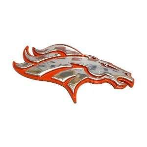 A Denver Broncos Premium Chrome Metal Auto Emblem for Car
