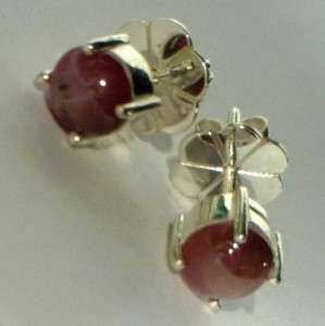 Star Ruby Purple Sapphire Handmade Sterling Silver Studs Post Ladies