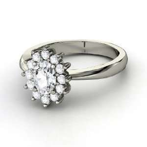 Aunt Stars Ring, Oval White Sapphire 14K White Gold Ring Jewelry