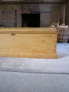 GOOD ANTIQUE VICTORIAN PINE BLANKET BOX TRUNK ~ CHEST COFFEE TABLE