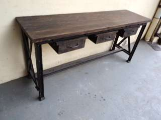 Great French Country iron & wood console table # 07126