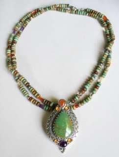 Carolyn Pollack Sterling Turquoise Multi Gemstone Enhancer Pendant and