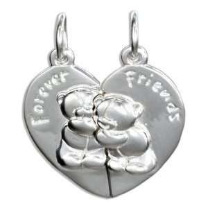 Sterling Silver Bears Two Piece Forever Friends Pendant. Jewelry