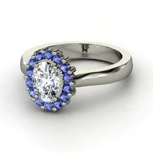 Princess Kate Ring, Oval Diamond 14K White Gold Ring with Sapphire