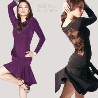 Latin salsa tango Ballroom Dance Dress long sleeve dress #S8058