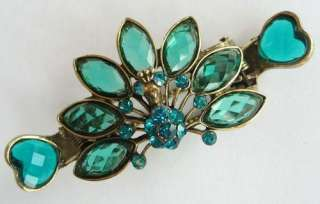 VARY COLORS SWAROVSKI CRYSTAL BRONZE PEACOCK HAIR CLAW CLIP 530