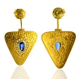 FINE DIAMOND PAVE 18K SOLID YELLOW GOLD EARRINGS GEMSTONE DANGLE