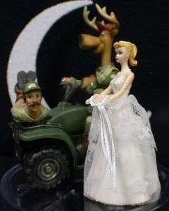 Deer Hunting Funny Hunter Groom WEDDING CAKE TOPPER Blond bride