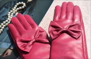 40cm(15.7) long fashion cute bow real leather gloves*dark pink