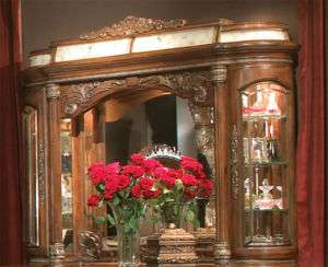 Chestnut Rococo Lighted Vanity Mirror