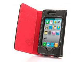 NEW Flip PU Leather Card Holder Pouch Wallet Case Cover For iPhone 4
