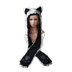 Wolf Full Animal Hood Hoodie Hat Faux Fur 3 in 1 Function
