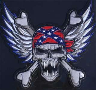 Rebel Confederate Flag SKULL PATCH 11 inches XL Back Patch