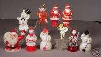 1950s Christmas Ornaments hard plastic Santa Snowman Elf