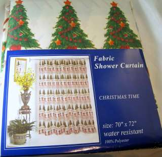 NEW Christmas Trees Candy Canes Stockings Striped Fabric Shower